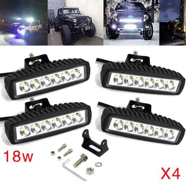 4 ADET 6 LEDLİ Metal Kasalı 18 W Off-Road Led Işık Gündüz Farı Sis Lambası 10-30 V Güçlü Beyaz Işık